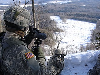 Army Mountain Warfare School - Soldiers practice adverse angle shooting as part of AMWS training
