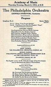 "A notice headed ""Academy of Music, Thursday Evening, March 1916 at 8.15."" It gives details of the programme for the first American performance of Mahler's Eighth Symphony, by the Philadelphia Orchestra under Leopold Stokowski, and lists the solo performers and choirs."