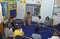 US Navy 030401-N-5996C-002 Lt. Cmdr. Matthew Southwick, a pediatrician at U.S. Naval Hospital Rota, uses a jump rope to demonstrate to first graders how the human pulse works.jpg