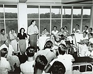 US Navy 030728-N-0000X-004 Entertainers Bob Hope and Francis Langford entertaining patients at the Coco Solo Hospital
