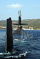 US Navy 041025-N-0780F-038 The Los Angeles-class attack submarine USS Newport News (SSN 750), departs Souda Bay harbor, Greece.jpg
