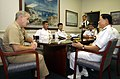 US Navy 041220-N-7293M-003 Commander, U.S. Naval Activities Guam, Capt. Robert A. McNaught and Chief of Staff for Commander, U.S. Naval Forces Marianas meet with Republic of Korean Navy (ROKN), Commander, Cruise Training Force.jpg