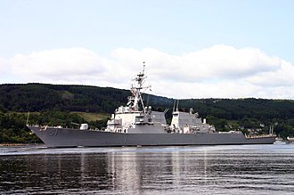HMNB Clyde - Image: US Navy 050606 N 0000C 002 The guided missile destroyer USS Arleigh Burke (DDG 51) departs Clyde Naval Base in Faslane, Scotland