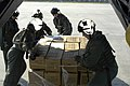 US Navy 050902-N-1467R-005 U.S. Navy Air Crewmen assigned to Helicopter Mine Countermeasures Squadron One Five (HM-15) stationed at Naval Air Station Corpus Christi, Texas off load a pallet loaded with Meals Ready to Eat.jpg
