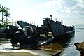 US Navy 060217-N-4772B-152 Members of Beachmaster Unit One (BMU-1) detachment WESTPAC offload equipment from Landing Craft Utility One Six Two Seven (LCU-1627) in the Philippines.jpg