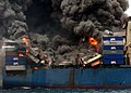 US Navy 060321-O-9999N-003 The Motor Vessel Hyundai Fortune burns in the Gulf of Aden, approximately 43 miles off the coast of Yemen.jpg
