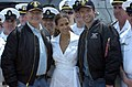 US Navy 060524-N-7676W-279 Actors Hugh Jackman, right, AKA Wolverine, Ms. Halle Berry, center, AKA Storm, and Kelsey Grammer, left, AKA Dr. Henry McCoy, pose for pictures with crew members.jpg