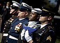 US Navy 071031-N-0696M-295 The joint service honor guard prepares to present the national ensign during the funeral services for Adm. William J. Crowe, the 11th Chairman of the Joint Chiefs of Staff, who died Oct. 18 at the age.jpg