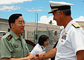 US Navy 080708-N-9486C-001 Rear Adm. Joe Walsh, commander of Submarine Force U.S. Pacific Fleet, greets Lt. Gen. Zhang Qinsheng, commander of Guangzhou Military Region, China.jpg