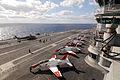 US Navy 091108-N-8913A-260 Training aircraft line the flight deck of the aircraft carrier USS Harry S. Truman (CVN 75).jpg
