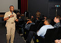 US Navy 100622-N-2218S-002 Rear Adm. Arthur Johnson, commander of the Naval Safety Center, asks Sailors and command safety representatives about their safety concerns during an all-hands call at Fleet Activities Yokosuka.jpg