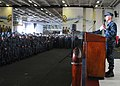 US Navy 101118-N-1004S-040 Capt. Thom W. Burke, commanding officer of the aircraft carrier USS Ronald Reagan (CVN 76), addresses the ship's company.jpg