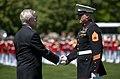 US Navy 110510-N-UH963-163 Secretary of the Navy (SECNAV) the Honorable Ray Mabus presents Gunnery Sgt. Brian M. Blonder.jpg