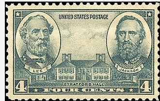 Stratford Hall (plantation) - US postage stamp showing Lee, Jackson and Stratford Hall