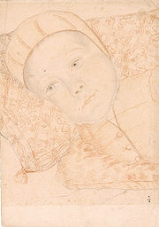 Unidentified baby of Catherine and Henry, probably Alexandre-Edouard, the future Henry III of France, who was born in 1551.
