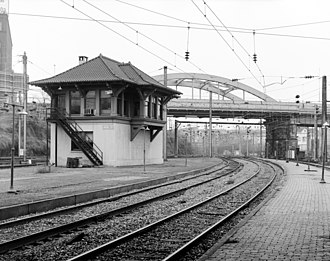 Philadelphia, Baltimore and Washington Railroad - Union Junction Tower in Baltimore, built in 1910. It operated into the Amtrak era and was closed in 1987.