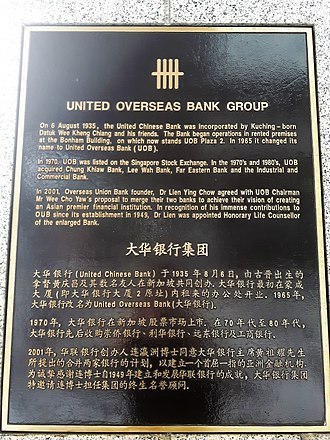 United Overseas Bank - United Overseas Bank History Plaque