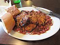 Uptown New Orleans July 2018 Parran's Po-Boys on Prytania Red beans chicken.jpg