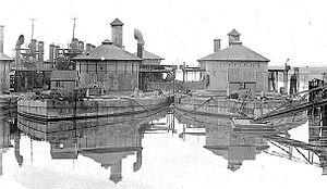 Passaic-class monitor - USS Lehigh and USS Montauk in the Philadelphia Navy Yard, circa 1902.