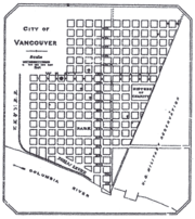 City of Vancouver as shown in 1888 map from Clarke County Auditor, Washington Territory.
