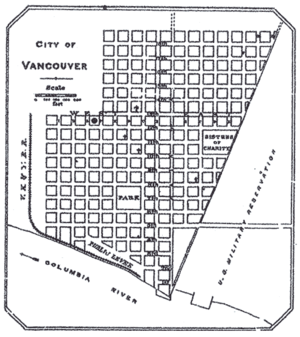 Esther Short Park - 1888 map of Vancouver, showing the park occupying four city blocks between 6th and 8th.