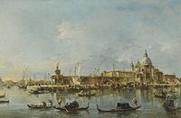Venice, A View of the Entrance to the Grand Canal with the Church of Santa Maria Della Salute and the Punta Della Dogana by Francesco Guardi.jpg