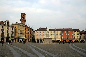 Vercelli - Piazza Cavour and the Torre dell'Angelo.