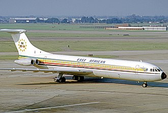 East African Airways - Vickers VC-10 of EAA arriving at London Heathrow Airport from Nairobi in July 1973