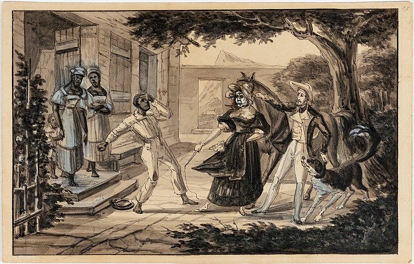 Viel esclave nègre, bathu par sa maitresse par maletendu le Voyageur, son cheval et son chien Fingal, da Coleção Brasiliana Iconográfica.jpg