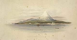 View of Mount Egmont and the Sugar Loaf Islands. [London, Smith, Elder 1845]