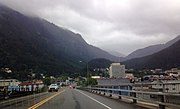 View of downtown Juneau, Alaska from the Juneau-Douglas Bridge