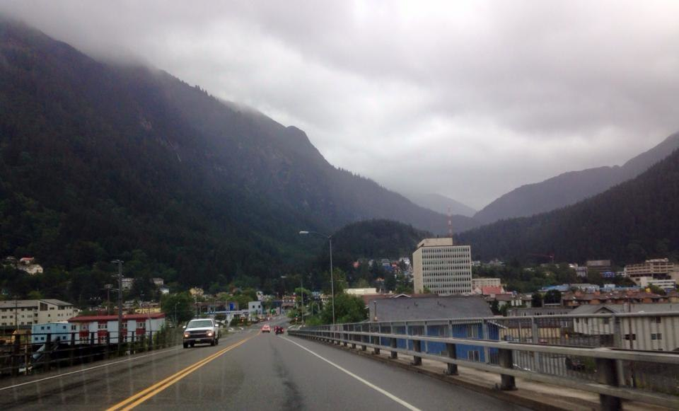 View of downtown Juneau, Alaska from the Juneau-Douglas Bridge