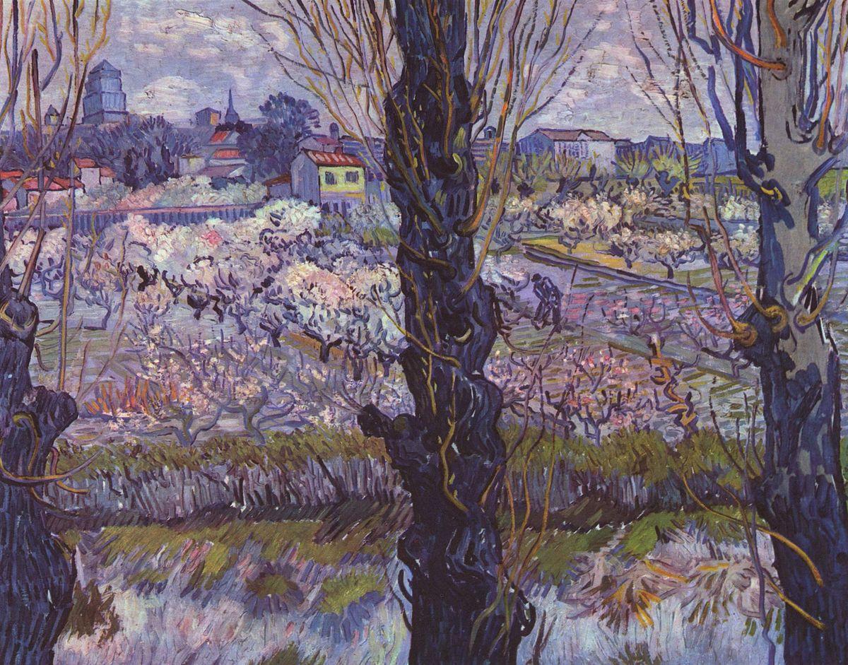 Kwitnący sad z widokiem na Arles – wolna