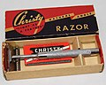 Vintage Christy Double Action SE Safety Razor With Massage Bar, Made In The USA By The Christy Company, Fremont, Ohio, Slogan - Light As Feather, Circa 1920s (40759333414).jpg