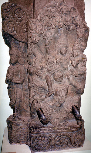 Garuda Purana - The text revolves around Vishnu, as recited by Garuda. Above: Vishnu and Lakshmi on Garuda (Delhi National Museum).
