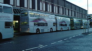 Vision West Nottinghamshire College - Shuttle buses waiting for students to embark in Mansfield town centre