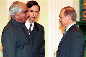 Jaswant Singh - With Russian Prime Minister Vladimir Putin