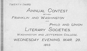 "Literary societies at Washington & Jefferson College - Cover of the playbill for the 1893 Contest. The debate that year was over the proposition of ""Resolved: That the National Government should Appropriate Money to the States for Educational Purposes in Proportion to Illiteracy."""