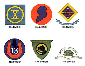 Divisions of the United States Army - Shoulder Sleeve Insignia of World War I Divisions (the 15th, 16th, 17th, 19th, and 20th Divisions never officially selected insignia)