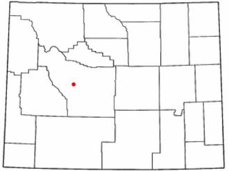 Fort Washakie, Wyoming - Image: WY Map doton Fort Washakie