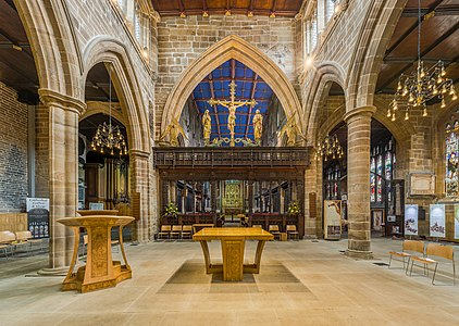 The sanctuary and rood screen of Wakefield Cathedral