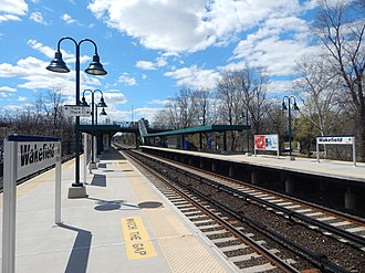 Wakefield station (Metro-North) - Wakefield station in April 2015 from the outbound platform.