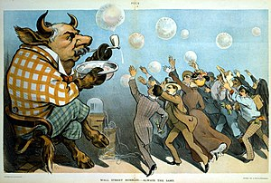 Market trend - A 1901 cartoon depicting financier J. P. Morgan as a bull with eager investors