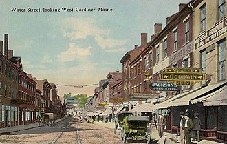 Gardiner, Maine - Water Street in 1914