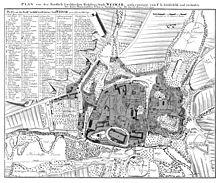 """Stadtplan von Weimar (1784), auf dem etwas links oberhalb der Mitte """"H[er]r[n] HofR[at] Wieland[s] Garten"""" eingetragen ist (Quelle: Wikimedia)"""