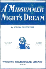"Cover of a copy of ""A Mindsummer Night's Dream"", printed in blue ink."