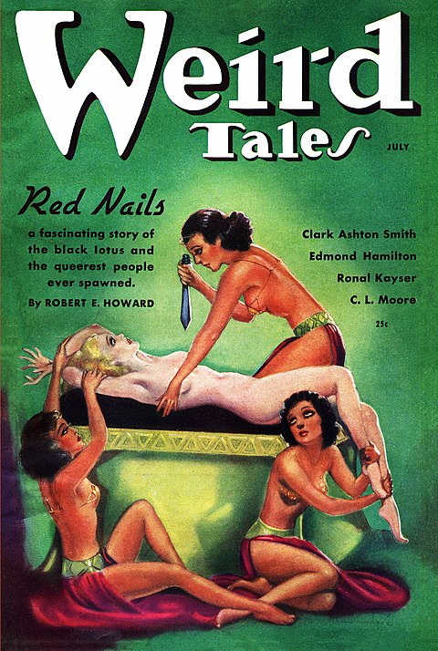 Cover of Weird Tales for July 1936 - A naked Valeria is held down by two women while a third stands over her with a raised knife.