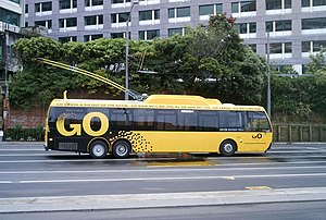 Photo of a new-model trolleybus in Wellington,...