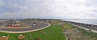Westport, Washington - Panorama of Westport looking toward the south beach, south jetty and the state park.