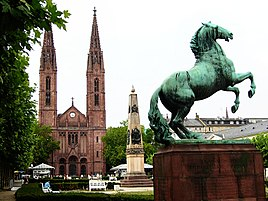 Luisenplatz in Wiesbaden with the Bonifatiuskirche in the background